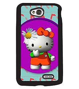 PRINTVISA Hello Kitty Premium Metallic Insert Back Case Cover for LG L70 - D5641