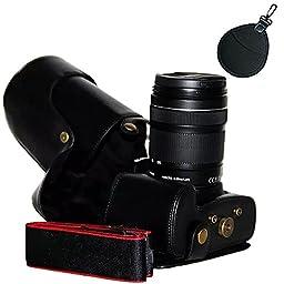 First2savvv XJPT-70D-01PAL0201 black full body Precise Fit PU leather digital camera case bag cover with shoulder strap for Canon EOS 70D 60D 18-135mm .18-200mm .15-85mm .17-85mm lens+ uv lens bag