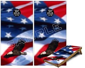 Cornhole Bag Toss Game Board Vinyl Wrap Skin Kit - American USA Flag (Ole Glory) Bald... by uSkins