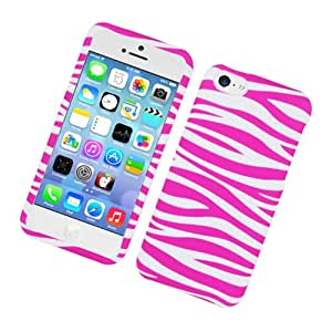Eagle Cell Rubberized Protector Case for Apple iPhone 5c - Retail Packaging - Pink ZebraÂ