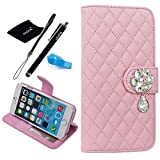 For iPhone 6 Plus case, Apple iPhone 6 plus Flip Case with Beauty Diamond Check Design (iPhone 6 Plus(5.5-inch), Lightpink)
