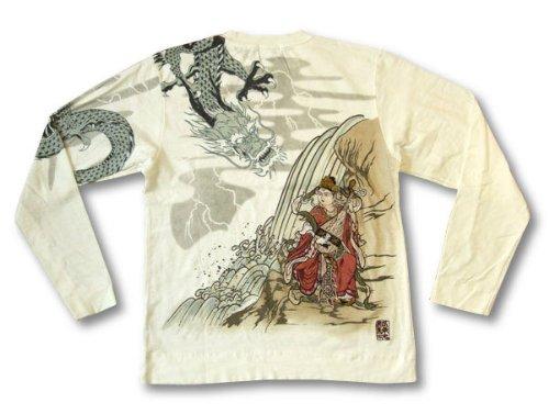 絡繰魂 長袖Tシャツ 龍に弁天 和柄 メンズ ロンtee 203282 オフ白 (XL)