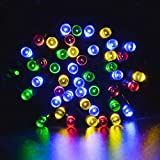 lederTEK Solar Powered Fairy String Lights 39ft 12m 100 LED 8 Modes Christmas Lights for Outdoor, Gardens, Homes, Wedding, Christmas Party, Waterproof (100 LED Multi-color)