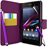 """SUPERGETS Sony Xperia E1 Wallet Design Case, Screen Protector,Touch Screen Stylus And Polishing Cloth Purple ( Not compatible to Xperia """"E"""" C1504 )"""