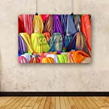 ArtzFolio Colorful luxury and expensive clothes texture background Canvas Art Print without Frame - Size 38.3 inch x 25.5 inch