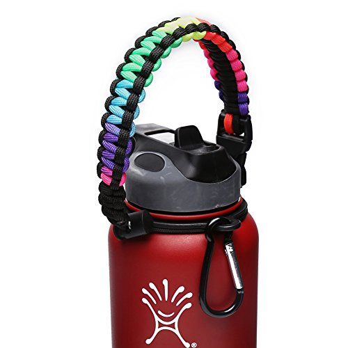 Hydro Flask Handle - Paracord Survival Strap with Security Ring for Wide Mouth Water Bottles Carrier (Colorful/Black)
