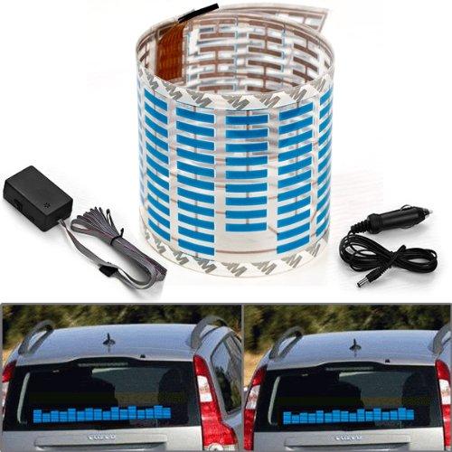 45x11cm DC 12V Sound Sensitive Music Beat Activated Car Sticker Equalizer Glow Blue LED Light with Car Cigarette Charger Universal Decoration