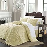 Bella 5-piece Comforter Set, King Size, Champagne; Shams, Bedskirt and Decorative Pillow Included