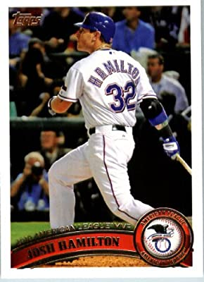 2011 Topps Baseball Card #29 Josh Hamilton - AL MVP - Texas Rangers - MLB Trading Card In A Protective Screwdown Case