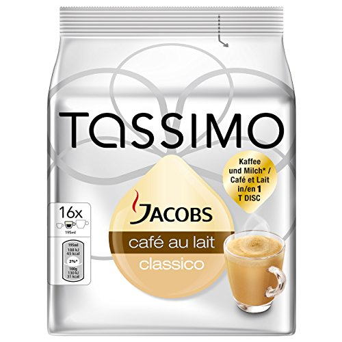 Buy Tassimo Jacobs Café au Lait, Coffee Capsules, Milk Coffee, Roasted Ground Coffee, 16 T-Discs / Servings by Mondelez