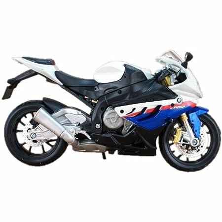 BMW S1000RR modele de moto en alliage jouets Vehicule Miniature Echelle 1/12 blanc