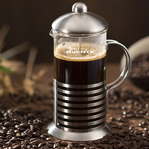 Ovente FSH12S 12oz Series Stainless Steel French Coffee Press, Horizontal