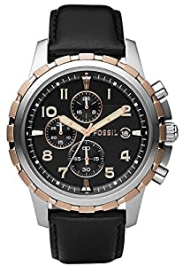 Black Dean Chronograph Leather Watch by Fossil
