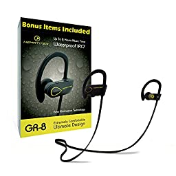 GR-8 Bluetooth Headphones + BONUS Car Charger & Armband By Hematiter | Up to 8 Hours of Music Best Wireless Earbuds for Sports, Workouts & Running | IPX7 Waterproof Earphones with Premium Sound