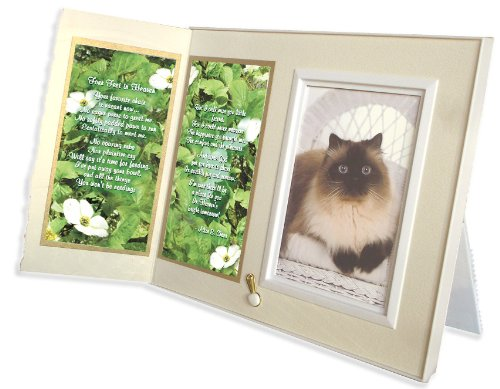 Four Feet in Heaven Poem Cat Memorial Keepsake Picture Frame and Pet Loss Sympathy Gift, Warm White with Foil Accent