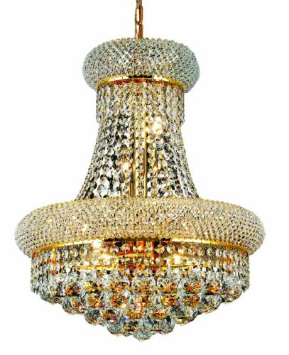 Elegant Lighting 1800D16G/Rc Primo 20-Inch High 8-Light Chandelier, Gold Finish With Crystal (Clear) Royal Cut Rc Crystal front-337978