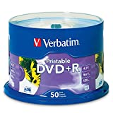Verbatim 4.7 GB up to 16x White Inkjet Printable Recordable Disc DVD+R, 50-Disc Spindle 95136