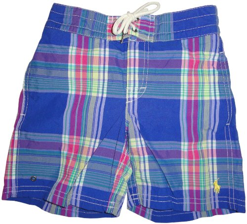 Boy'S Polo By Ralph Lauren Swimming Trunks Bathing Suit Blue Plaid (2T) front-1041856