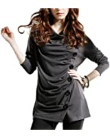 DJT Women's Fashion Cowl Neck Button Embellished Ruched Tunic Blouse Top S-XL