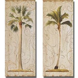 Palm Swirls I & II by Elizabeth Medley 2-pc Premium Stretched Canvas Set (Ready-to-Hang)