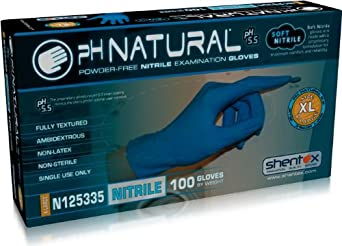 "Shentex pH Natural N12533 Soft Nitrile Glove, Powder Free, 9.5"" Length, 3.5 mils Thick"