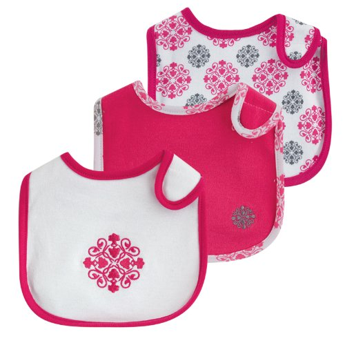Yoga Sprout Bibs, Pink Medallion, 3 Count
