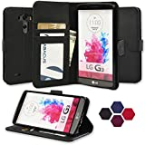 LG G3 Case, Abacus24-7 Wallet with Flip Cover and Stand, Black