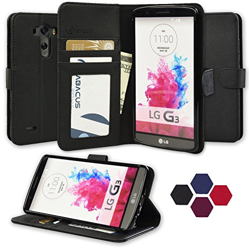 LG G3 Case, Abacus24-7 Wallet with Flip Cover and Stand, Black (Wallet For Lg G3 compare prices)
