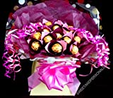 Sweety Trees and Bouquets ~ 16 x Ferrero Rocher chocolate sweet bouquet ~ Delivered in Patterned Gift Box