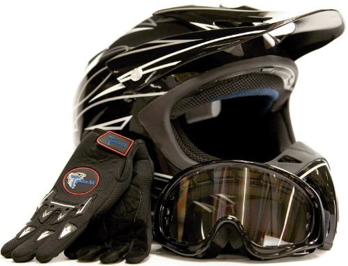 Adult Motocross Helmet Gloves & Goggles ATV Dirt Bike Motorcycle Black, Small