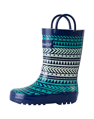 Oakiwear Girls Pink Rubber Rain Boots (3 US Youth, Tribal) (Rain Boots Blue compare prices)