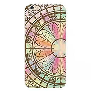 Hamee Designer Case from Japan Thin Fit Stained Glass Type Clear Transparent Protective Plastic Hard Cover for iPhone 6 Plus / 6s Plus (Large Flower)