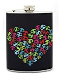 Stainless Steel 8 Oz. Black Background Colorful Skull Heart Decorated Flask