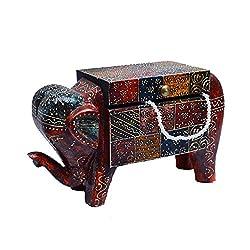 eCraftIndia Wooden Jewellery Box in Elephant Shape
