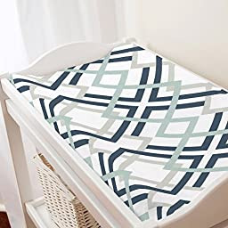 Carousel Designs Navy and Gray Geometric Changing Pad Cover