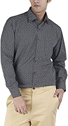 Silkina Men's Regular Fit Shirt (VPOI1230F, Black Print, 42)