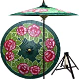 Summer Roses 7 Foot Patio Umbrella With Base - Dark Green