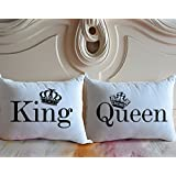 Cukudy ® King & Queen Couple Pillow Covers Cotton Polyester Set of 2