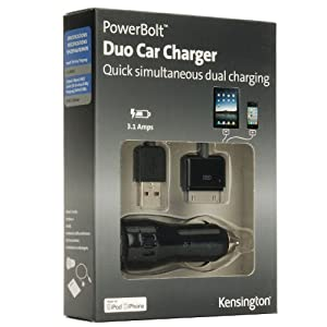 Kensington PowerBolt Duo Adattatore auto con 2 prese USB per ricaricare iPhone, iPad, iPod e altri dispositivi USB; 1 x 2.1A, 1 x 1A