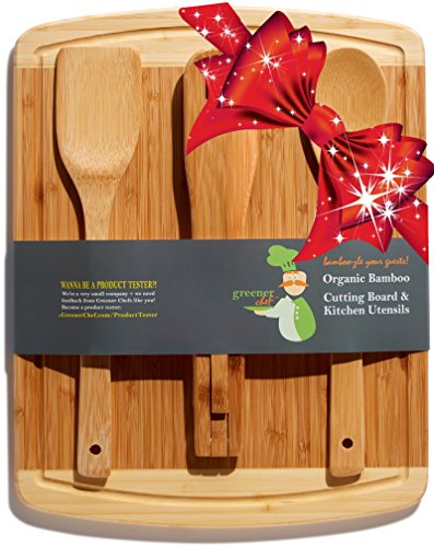#1 Perfect Christmas, Housewarming, Wedding or Birthday Gift Set | Bamboo Cutting Board with Best 3-Piece Kitchen and Cooking Wood Utensils | Wooden Spoon, Salad Tongs & Spatula (Cast Iron Dice Set compare prices)