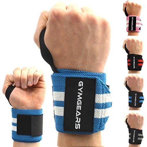 Handgelenkbandage [2er Set] Wrist Wraps 45 cm - Profi Bandagen für Kraftsport, Bodybuilding, Powerlifting, CrossFit & Fitness - Blau / Weiß