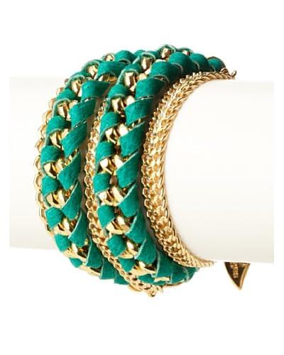 Sara Designs Green Lambskin Leather & Chain Double-Wrap Bracelet