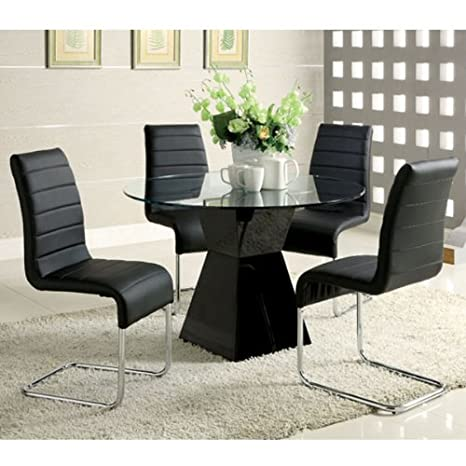 Sumiton Contemporary Style Black Finish 5-Piece Glass Top Dining Table Set