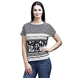 MansiCollections Casual Short Sleeve Printed Women's Black, White Top (Large)