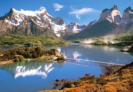 1000 Teile Puzzle Torres del Paine Patagonien Chile Berge Landschaft See