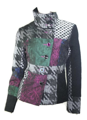 #680 Damen Luxus Designer Patchwork Winter Mantel kurz Stickerei Neu 36 38 40 42 (40)