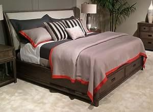 American drew park studio queen upholstered sleigh bed in light oak furniture decor for American drew oak bedroom furniture