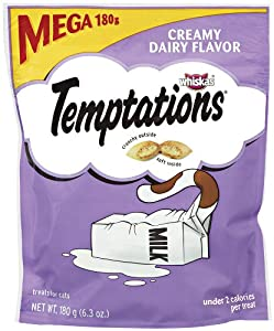 Whiskas Temptations Treats for Cats Mega Bag Creamy Dairy Flavor, 6.3 Ounce (Pack of 10)