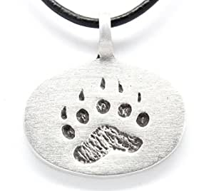 Pewter Bear Claw Paw Gay Pride Lgbt Pendant, Leather Necklace
