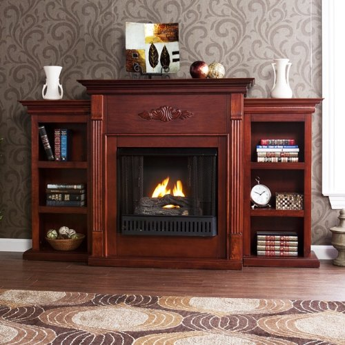 For Sale! 42'' Electric Fireplace LED Light with Book Shelf, TV/Media Stand, Mahogany